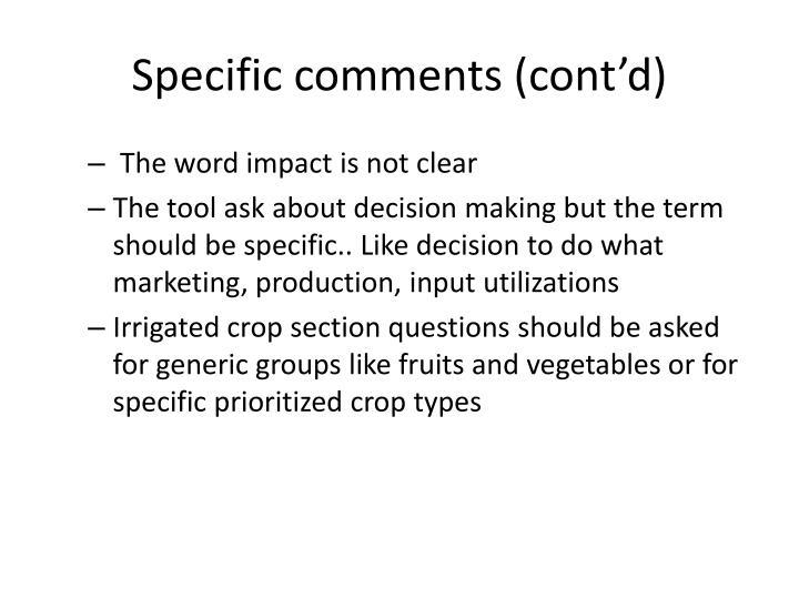Specific comments (cont'd)