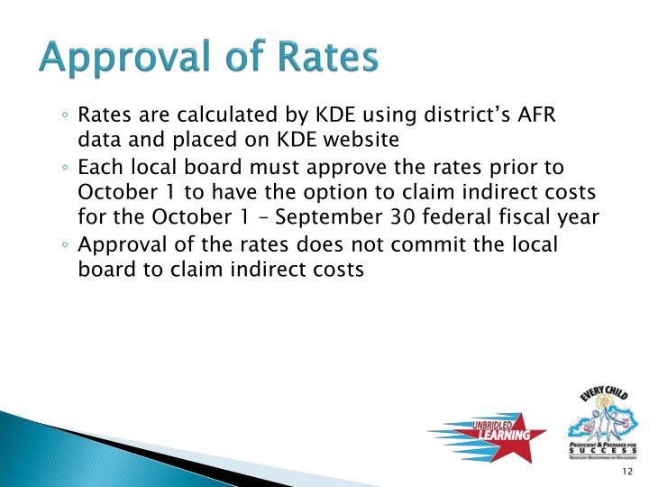 Approval of Rates