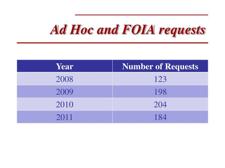 Ad Hoc and FOIA requests