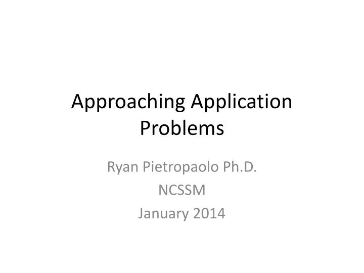 approaching application problems n.