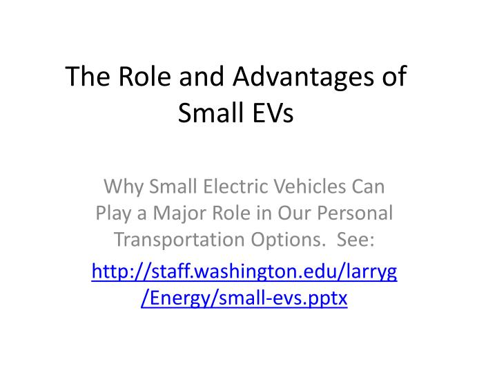 the role and advantages of small evs n.