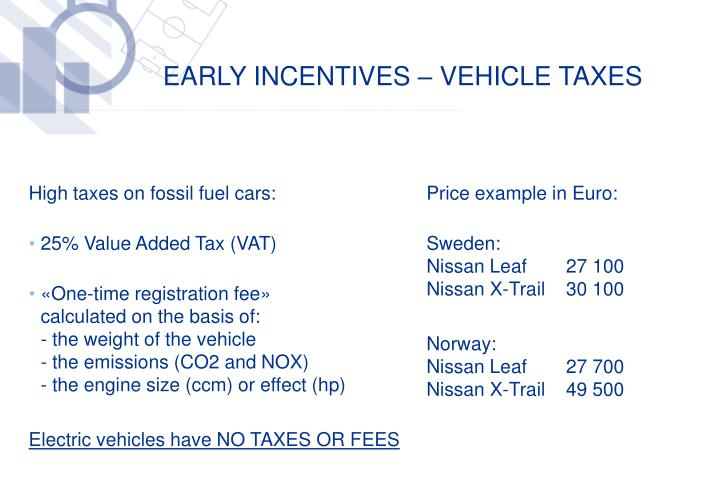 EARLY INCENTIVES – VEHICLE TAXES