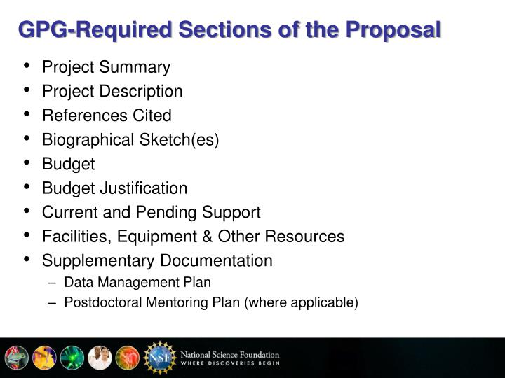 GPG-Required Sections of the Proposal