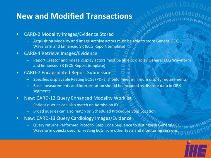 New and Modified Transactions