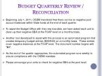 budget quarterly review reconciliation