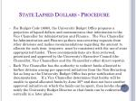 state lapsed dollars procedure