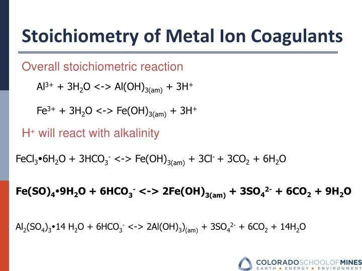 Stoichiometry of Metal Ion Coagulants