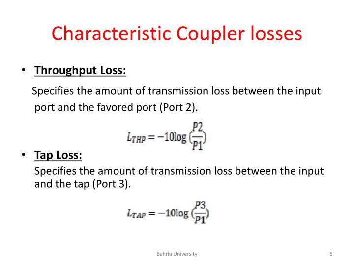 Characteristic Coupler losses