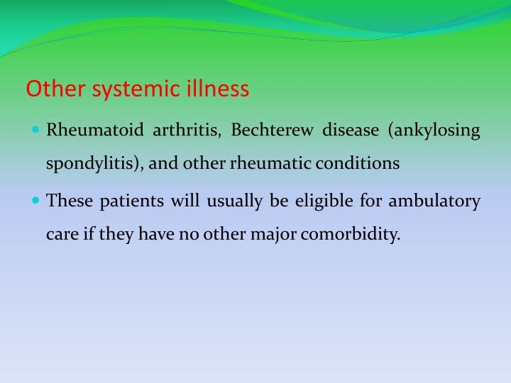 Other systemic illness