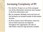 increasing complexity of im