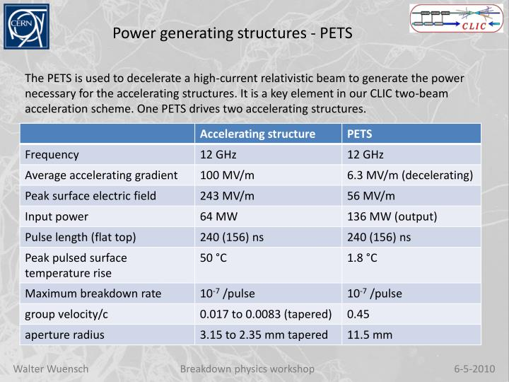 Power generating structures - PETS
