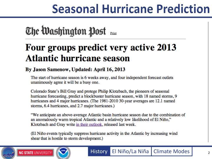 Seasonal hurricane prediction