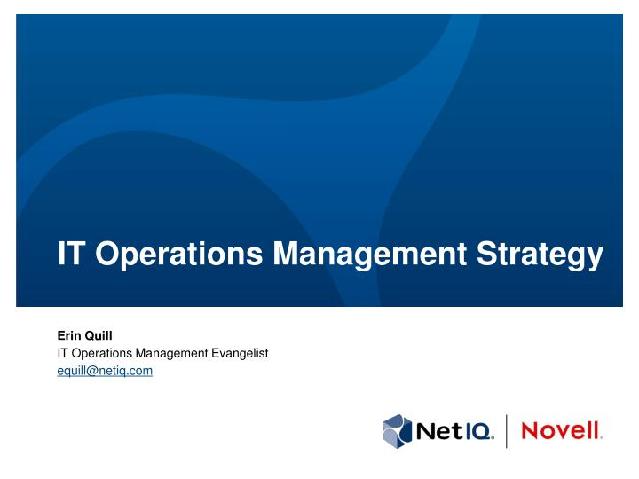 it operations management strategy n.