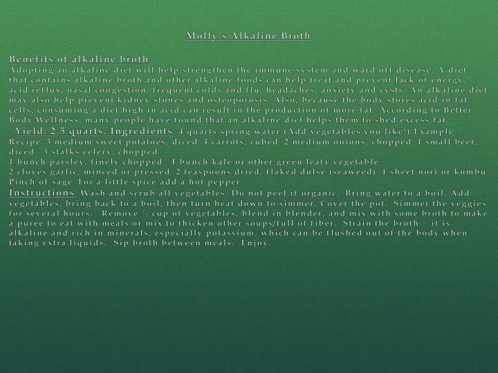 Molly's Alkaline Broth