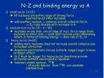 n z and binding energy vs a