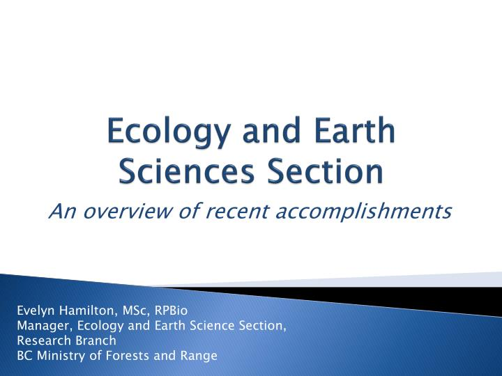 overview of ecology