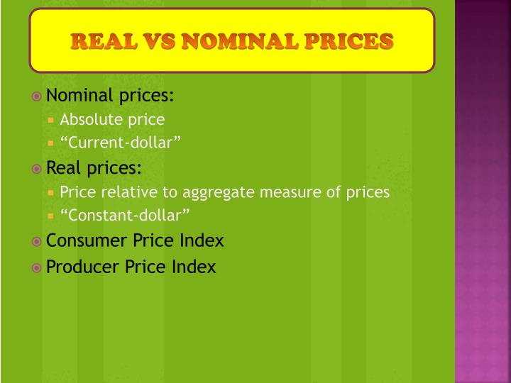 REAL VS NOMINAL PRICES