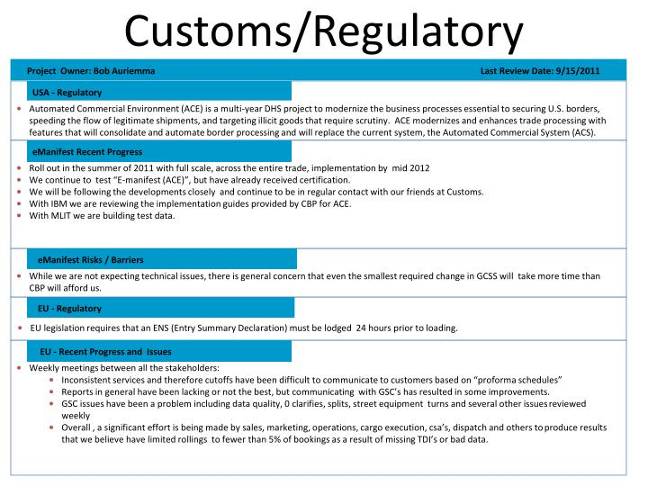 Customs/Regulatory