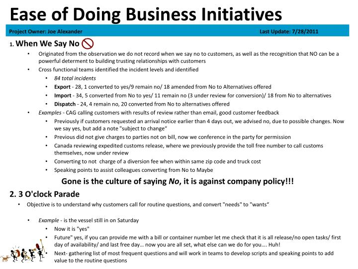 Ease of Doing Business Initiatives
