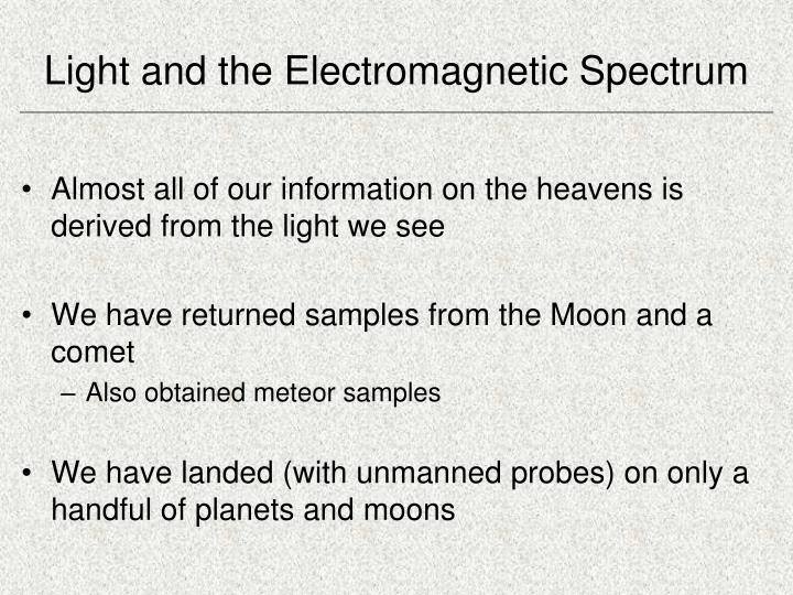 light and the electromagnetic spectrum n.