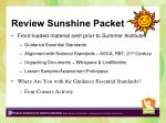 review sunshine packet
