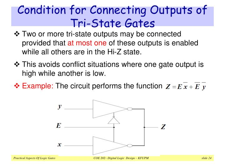 Condition for Connecting Outputs of Tri-State Gates