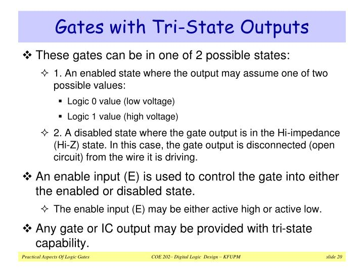 Gates with Tri-State Outputs