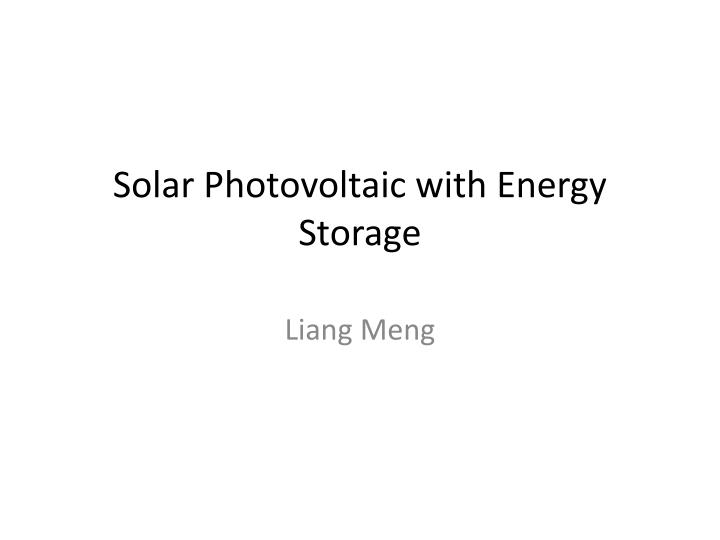 solar photovoltaic with energy storage n.