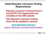 initial educator licensure testing requirements