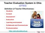 teacher evaluation system in ohio otes