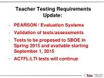 teacher testing requirements update