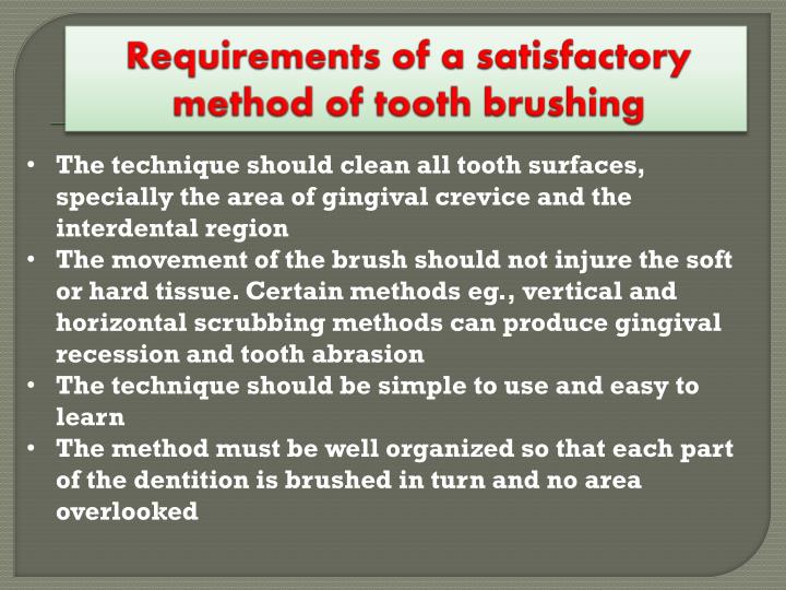 Requirements of a satisfactory method of tooth brushing
