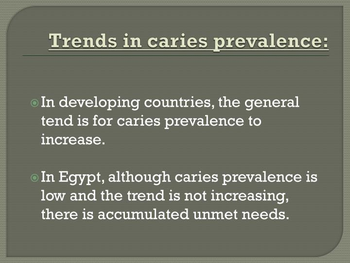 Trends in caries prevalence: