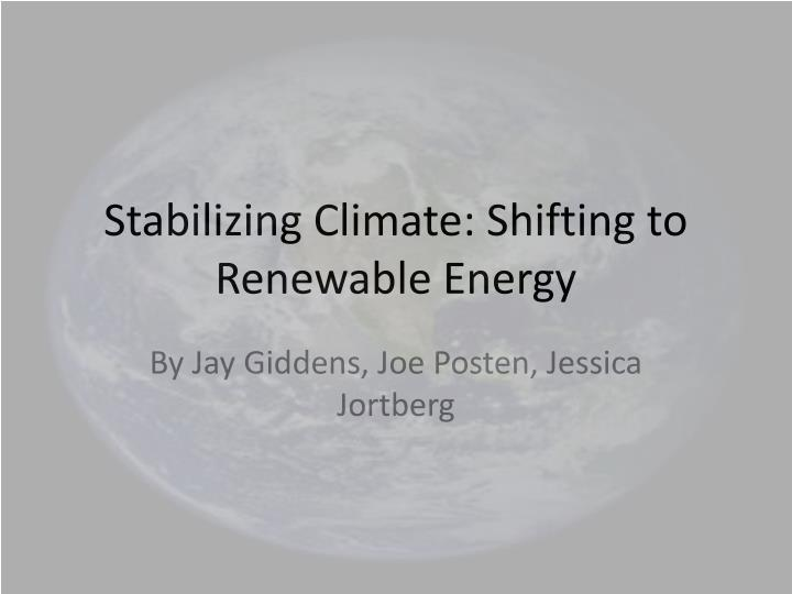 stabilizing climate shifting to renewable energy n.