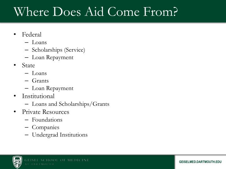 Where does aid come from