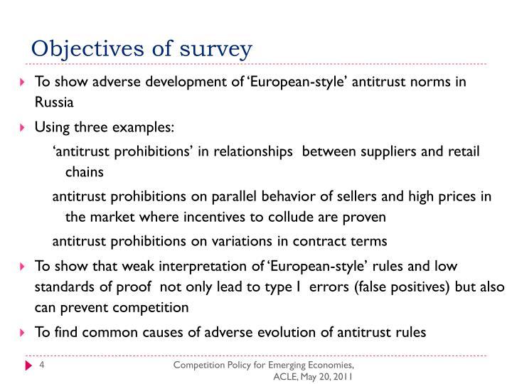 Objectives of survey