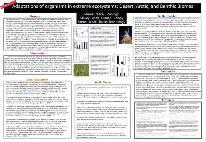 adaptations of organisms in extreme ecosystems desert arctic and benthic biomes n.