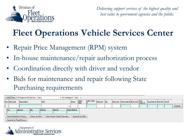 Fleet Operations Vehicle Services Center