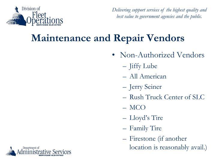 Maintenance and Repair Vendors