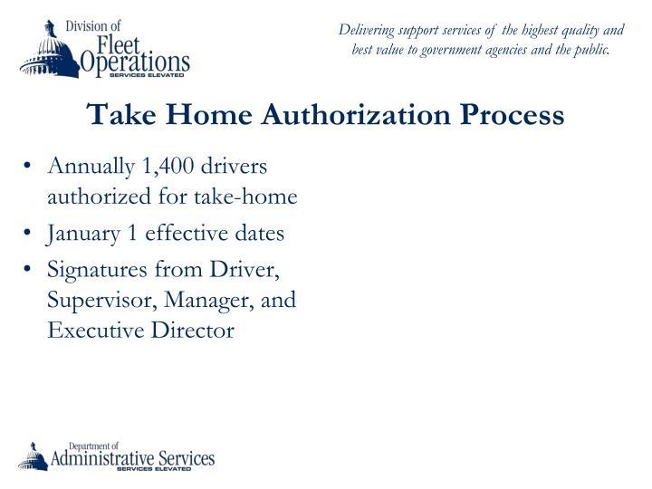 Take Home Authorization Process