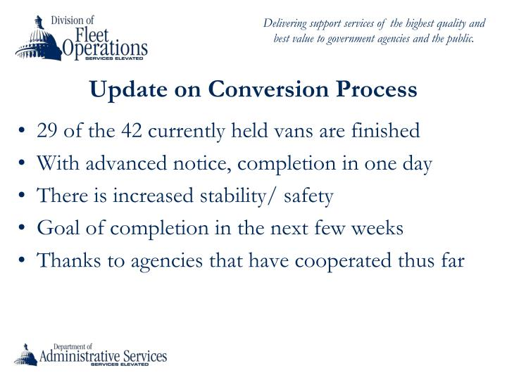 Update on Conversion Process