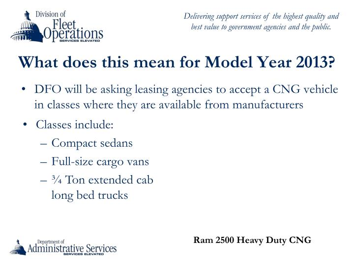 What does this mean for Model Year 2013?