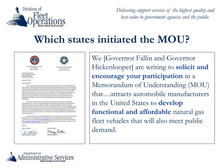Which states initiated the MOU?