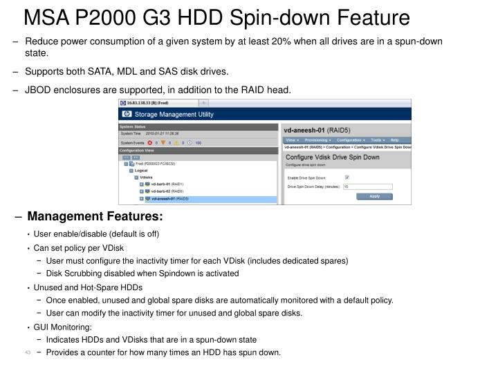 MSA P2000 G3 HDD Spin-down Feature