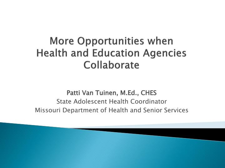 more opportunities when health and education agencies collaborate n.