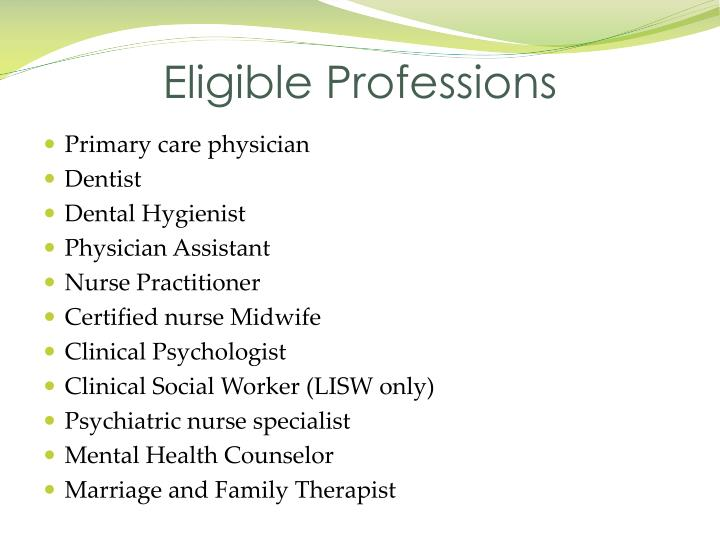 Eligible Professions