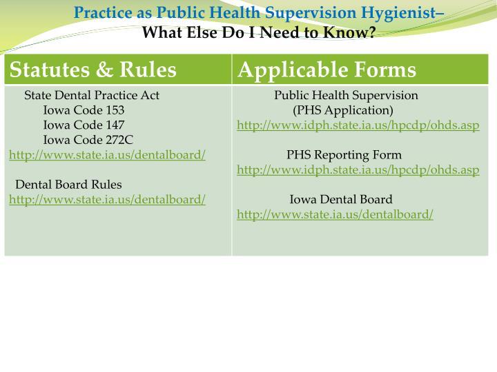 Practice as Public Health Supervision Hygienist–