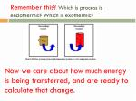 remember this which is process is endothermic which is exothermic