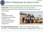 culture of maintenance logistics course