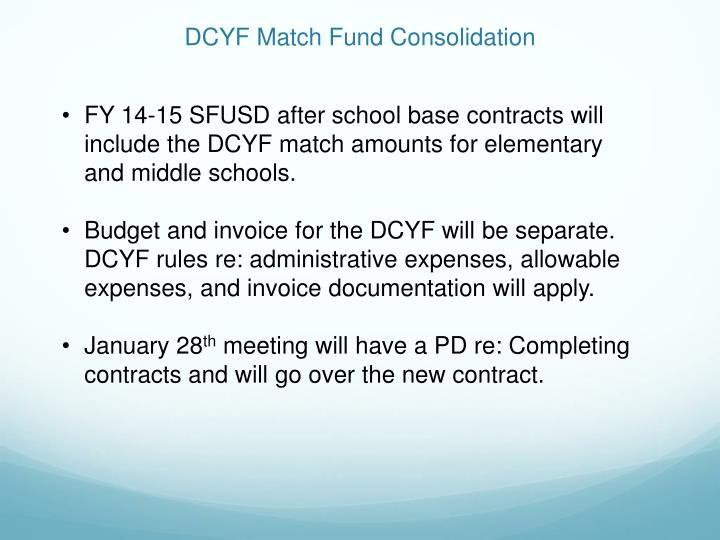 DCYF Match Fund Consolidation